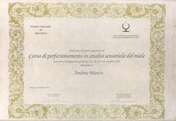 ANDREA BIANCO - Corso di perfezionamento in analisi sensoriale del miele - Azienda Apistica Mario Bianco di Bianco A.