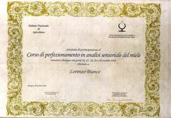 LORENZO BIANCO - Corso di perfezionamento in analisi sensoriale del miele - Azienda Apistica Mario Bianco di Bianco A.